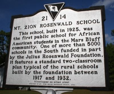Mt. Zion Rosenwald School Marker (front) image. Click for full size.