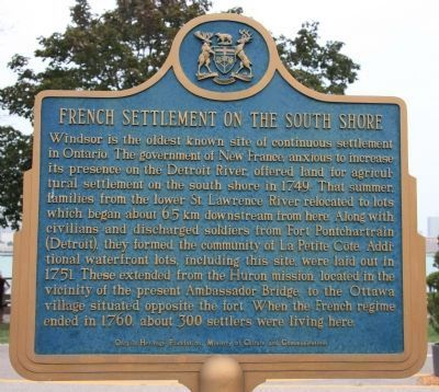 French Settlement on the South Shore Marker - English image. Click for full size.