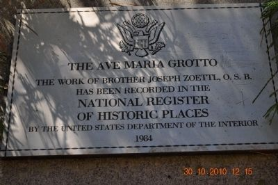 The Ave Maria Grotto Marker image. Click for full size.