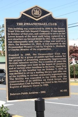 The Zwaanendael Club Marker image. Click for full size.