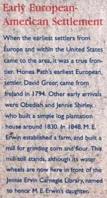 Honea Path Marker - Front<br>Early European-American Settlement image. Click for full size.