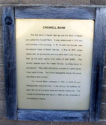 Crowell Bank Marker image. Click for full size.