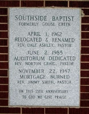 Southside Baptist Church Marker image. Click for full size.