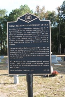 Indian Mission United Methodist Church Marker image. Click for full size.