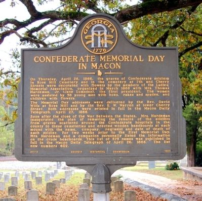 Confederate Memorial Day in Macon Marker image. Click for full size.