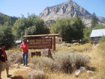 Lundy Marker with Campground and Mountain in the Background Photo, Click for full size