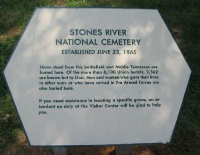 Stones River National Cemetery Marker image. Click for full size.