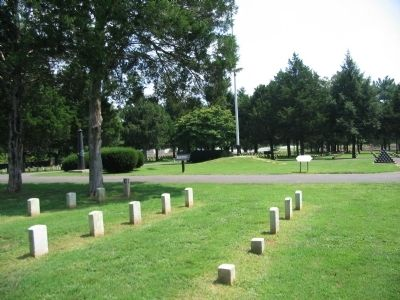 Flagpole and Memorials in the Cemetery image. Click for full size.