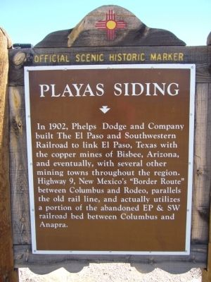 Playas Siding Marker image. Click for full size.