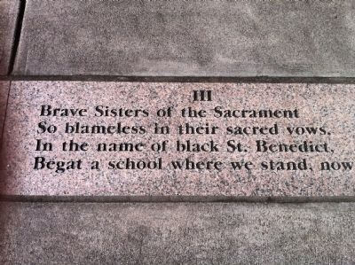 "Portion of Poem ""The Saga of St. Benedict the Moor School"" (engraved in sidewalk) image. Click for full size."
