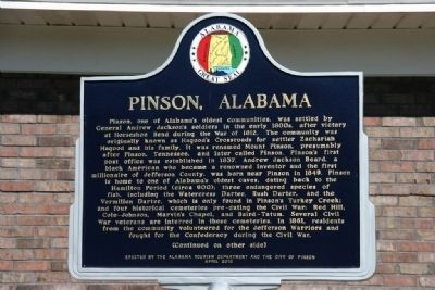 Pinson, Alabama Marker (Side A) image. Click for full size.
