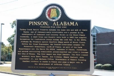 Pinson, Alabama Marker (Side B) image. Click for full size.