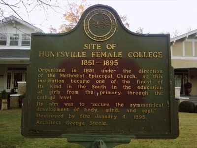 Site of Huntsville Female College Marker image. Click for full size.