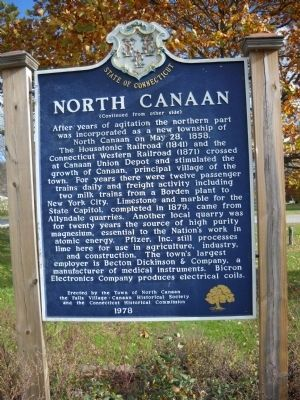 North Canaan Marker (Reverse Side) image. Click for full size.