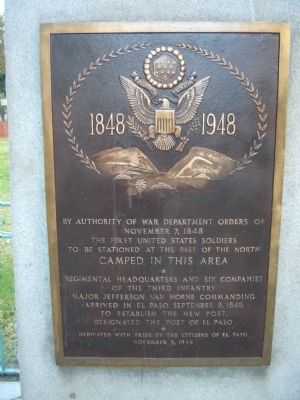 The First United States Soldiers to be stationed at the Pass of the North Marker image. Click for full size.