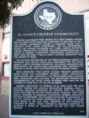 El Paso's Chinese Community Marker image. Click for full size.