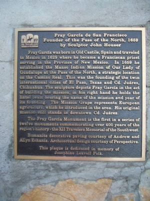 Fray García de San Francisco Marker - English image. Click for full size.