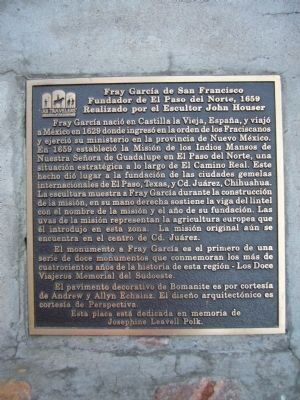 Fray García de San Francisco Marker - Spanish image. Click for full size.