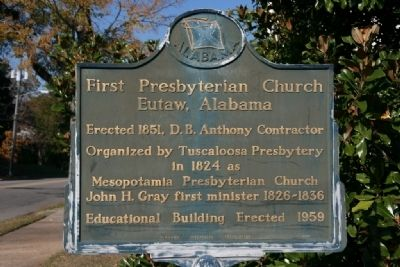 First Presbyterian Church Eutaw, Alabama Marker image. Click for full size.