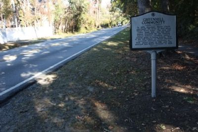 Greenhill Community / Greenhill Farming Marker, looking north along Mathis Ferry Rd. image. Click for full size.