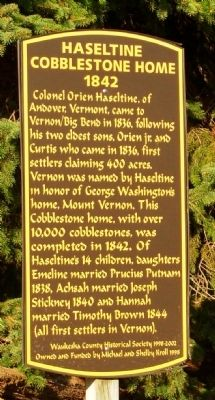 Haseltine Cobblestone House Marker Photo, Click for full size