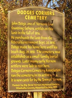 Dodges Corners Cemetery Marker image. Click for full size.
