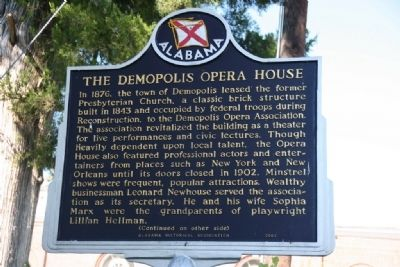 The Demopolis Opera House / Lillian Hellman And Marker (Side A) image. Click for full size.