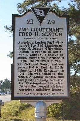 2nd Lieutenant Fred H. Sexton Marker image, Click for more information
