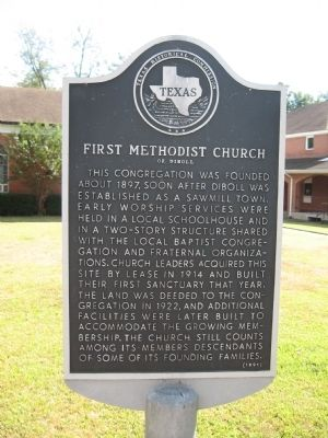 First Methodist Church of Diboll Marker image. Click for full size.