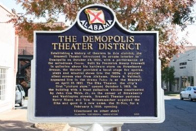 The Demopolis Theater District Marker (Side A) image. Click for full size.