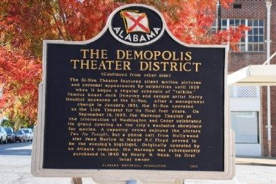 The Demopolis Theater District Marker (Side B) Photo, Click for full size