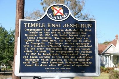 Temple B�Nai Jeshurun Marker (Side A) image. Click for full size.