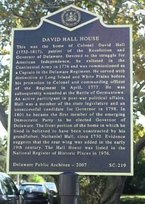 David Hall House Marker image. Click for full size.
