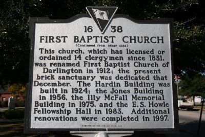 First Baptist Church Marker (Side B) image. Click for full size.
