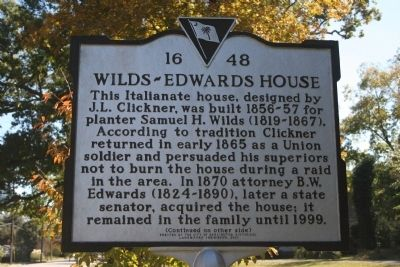 Wilds-Edwards House / Samuel Hugh Wilds Marker (front) image. Click for full size.