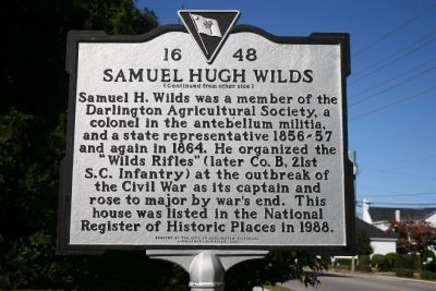 Wilds-Edwards House / Samuel Hugh Wilds Marker (reverse) image. Click for full size.