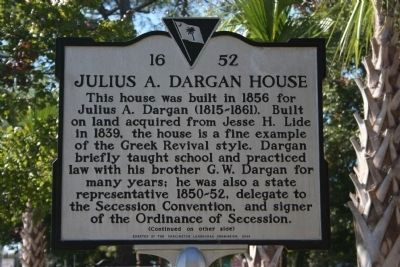 Julius A. Dargan House Marker (Side A) image. Click for full size.