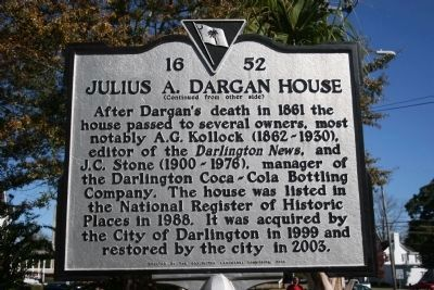 Julius A. Dargan House Marker (Side B) image. Click for full size.
