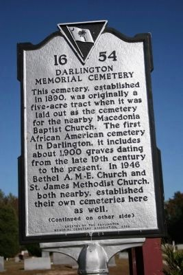 Darlington Memorial Cemetery Marker (Side A) image. Click for full size.