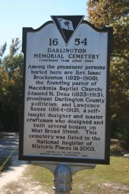 Darlington Memorial Cemetery Marker (Side B) image. Click for full size.