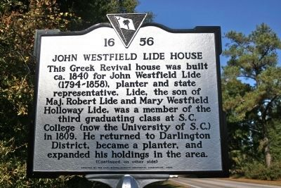 John Westfield Lide House Marker (Side A) image. Click for full size.