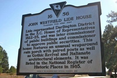 John Westfield Lide House Marker (Side B) image. Click for full size.
