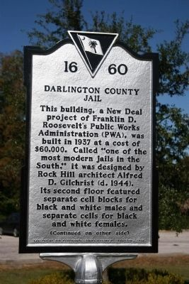 Darlington County Jail Marker (Side A) image. Click for full size.