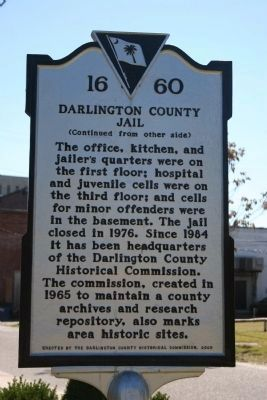 Darlington County Jail Marker (Side B) image. Click for full size.