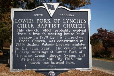 Lower Fork Of Lynches Creek Baptist Church Marker image. Click for full size.