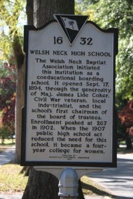 Welsh Neck High School Marker image. Click for full size.