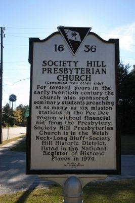 Society Hill Presbyterian Church Marker (reverse) image. Click for full size.