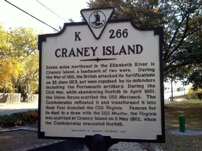 Craney Island Marker K 266 close-up image. Click for full size.