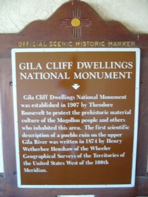 Gila Cliff Dwellings National Monument Marker image. Click for full size.