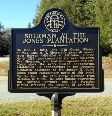 Sherman at the Jones Plantation Marker image. Click for full size.